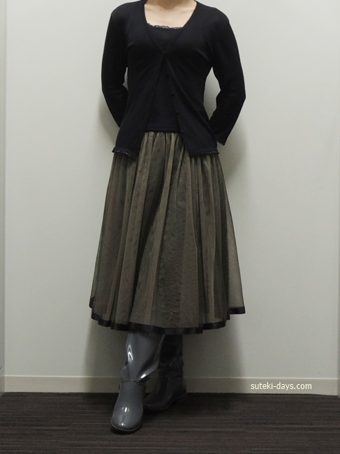 黒アンサンブル×しまむらチュールスカート